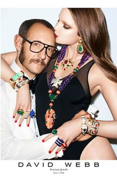 Terry Richardson and Eniko Mihilak in David Webb's jewelry campaign.