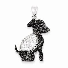 NEW-SOLID-925-STERLING-SILVER-BLACK-CLEAR-CZ-PUPPY-DOG-PENDANT-FOR-NECKLACE