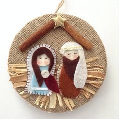Nativity Ornament - Christmas Nativity Ornaments - Xmas Tree Ornament - Handmade and Design in Burlap and felt material, decor with cinnamon sticks , raffia and a lovely vintage trim around making this beautiful final touch. This Nativity Handmade Ornament is made with lots of love and