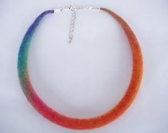 Tamaño S, collar de fieltro, fieltro collar, gargantilla, collar, collar de los niños, collar arco iris, naranja, azul, verde, 42,5 cm, 17 pulgadas
