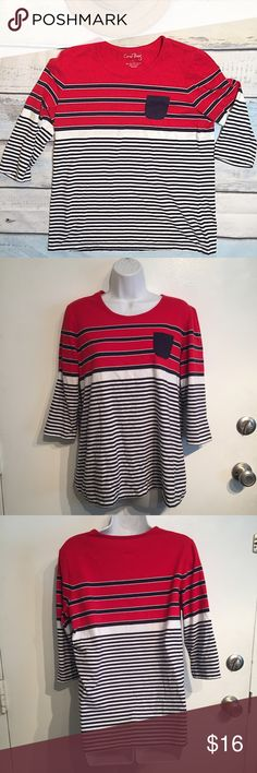 Coral Bay Nautical Striped Crop Sleeve Top Coral Bay Nautical striped crop sleeve tee with chest pocket. Size large. No modeling. Smoke free home. I do discount bundles. Coral Bay Tops