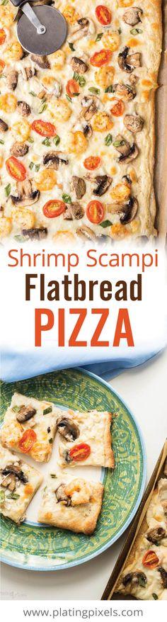 Scampi Flatbread Pizza by Plating Pixels. With mozzarella, mushrooms ...
