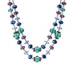 Teal Multicolored Glass Strand Necklace