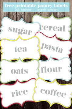 Free Printable Pantry Labels | 32 Labels and a Blank Page, too