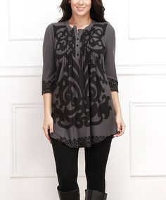 Another great find on #zulily! Black & Gray Baroque Notch Neck Tunic - Plus by  #zulilyfinds