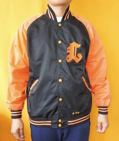 New Ration Baseball Jacket Vintage 90s Snap Button Down Black Windbreaker Made In Japan (26/04) by InPersona on Etsy