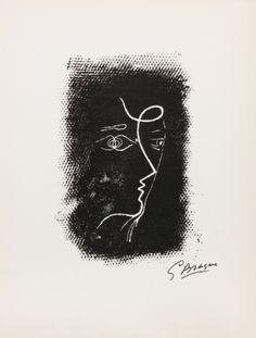 Georges Braque - Profil de Femme d'après Souvenirs de Portraits d'Artistes. ed. 1972