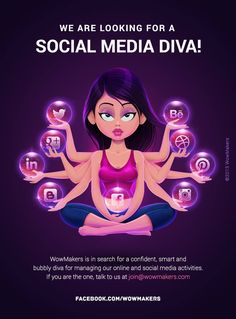 The creative we've did for hiring a Social Media Diva to become the online face of WowMakers.   Details:  WowMakers is looking for a super talented girl to become the face of all our online activities - right from managing our social media to writing blogs to coming up with simple and catchy copy.  If you think you are the one, shoot an email to join@wowmakers.com #wowmakers #socialmedia #copywriting