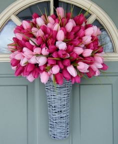Spring Wreath - Spring Tulip Wreath - Spring Tulip Door Basket To see my entire spring tulip collection, click here: https://www.etsy.com/shop/countryprim?section_id=14960026&ref=shopsection_leftnav_6 This is a gray rattan style basket that is flat on the back, so it sits up against a door or wall. It is filled with beautiful dark and light pink artificial tulips. The entire arrangement measures about 20 inches tall by 15 inches wide at the widest point. T...