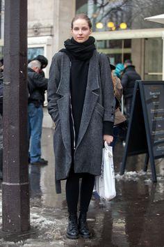 cowl scarf, coat's hem hits knee, leggings, combat boots | presumably, photo by Adam Katz Sinding