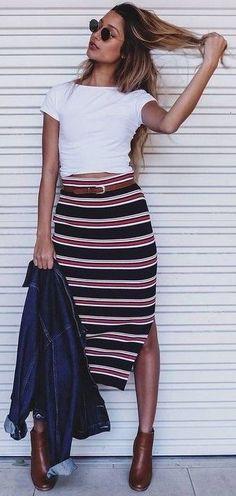 #summer #flirty #outfitideas   White Tee + Stripe Maxi Skirt