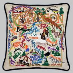 Catstudio Hand-Embroidered Pillow - Oregon ** Check this awesome product by going to the link at the image.