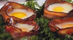 Bacon 'n' Egg Bundles - This is a fun way to serve bacon and eggs all in one bite!