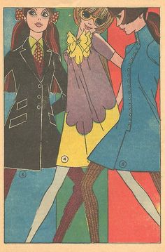 Mad Mad Modes for Moderns Mondays - Mini Dresses — Sequential Crush Fashion Illustration Template, Fashion Illustration Vintage, Retro Illustration, Fashion Illustrations, Vintage Illustrations, 1960s Fashion, Fashion Art, Vintage Fashion, Artist Fashion