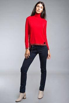 Red Jumper, Capri Pants, Fashion, Tricot, Moda, Capri Trousers, Fashion Styles, Fashion Illustrations