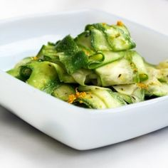 Shaved zucchini with lemon and olive oil