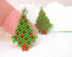 Beaded Christmas Tree Pendant, Peyote Stitch Handmade Charm, Seed Bead Jewelry