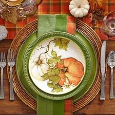 Dining u0026 Entertaining Tablescapes | Pier 1 Imports Green orange & Trimmed in a decorative plume motif Pier 1u0027s gleaming ironstone ...