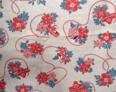 Red and blue fabric yardage /  lasso and sombrero