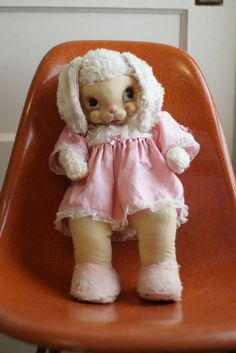 "Vintage 1950's Rushton Rubber Face Bunny Rabbit Girl Doll Stuffed Plush 17""   Toys & Hobbies, Stuffed Animals, Vintage   eBay!"