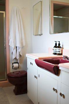 Dark red original bathroom poercelain.