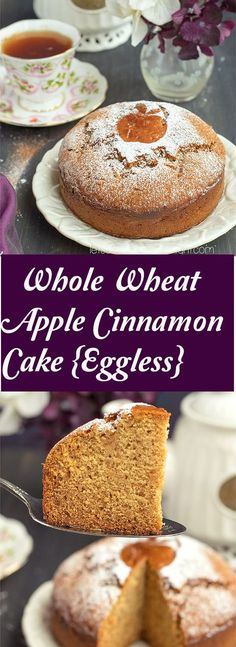 Whole Wheat Eggless Apple Cinnamon Cake-An eggless Apple cinnamon cake made with Whole Wheat. A delicious and light tea time cake. Eggless Desserts, Eggless Recipes, Eggless Baking, Healthy Cake Recipes, Easy Desserts, Baking Recipes, Dessert Recipes, Eggless Apple Cake Recipe, Healthy Apple Cake