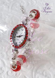 Orologio da polso con quadrante ovale e pietre rosse, by Idee Preziose di Ale e Cri, 16,00 € su misshobby.com