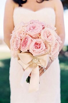 Very Elegant Bridal Bouquet Showcasing Large Pink English Garden Roses, Hand Tied With A Gorgeous Ivory Satin Ribbon & Bow