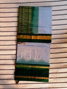 Ash grey kanchi Silk Cotton Saree with dark green pallu and korvai temple border Silk Cotton Sarees, Ash Grey, Green Silk, Temple, Dark, Painting, Temples, Painting Art, Paintings