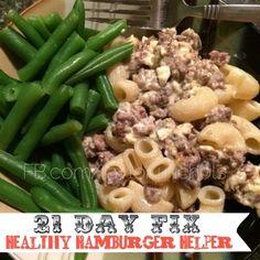 Taylor Nichols: 21 Day Fix Recipe Healthy Hamburger Helper. Used cheddar & cottage cheese. Added garlic & onion powder