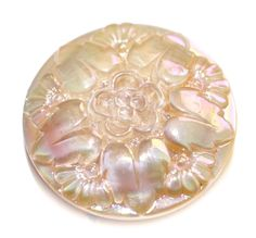 Button / Glass Tan / Leafs & Flower / Aurora Finish  /  Moonglow / Vintage  / Medium by KPHoppe on Etsy