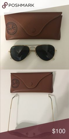 Shop Women's Ray-Ban Gold size OS Sunglasses at a discounted price at Poshmark. Gold Aviator Sunglasses, Sunglasses Accessories, Sunglasses Case, Ray Ban Gold, Aviation, Ray Bans, Fashion Design, Fashion Trends, Green