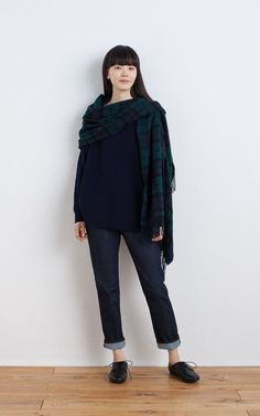 MUJI | LARGE WOOL CAPE STOLE WITH ARM HOLE (PATTERN) | ORGANIC DENIM STRAIGHT BOYFRIEND | LEATHER LACE-UP SHOES