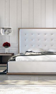 Our classic Modloft Ludlow bed has always turned heads. Massive button tufted headboard with contrasting wood frame really sparks a master or 2nd bedroom. Available in our quick-ship program for immediate delivery.