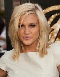 Medium layered hairstyles Ashley Robbert Medium layered hairstyles, Blonde Line up