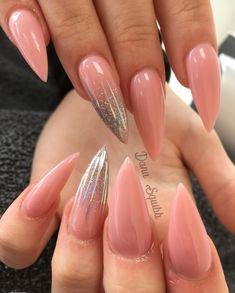 #nails #nailideas #nailinspo #naildesigns #nailart #nudenails #silvernails #glitternails #pinknails #sparklynails #stilettonails #acrylicnails #pointynails #longnails