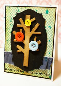 Tobi does it again! Love this card she made with buttons and the Loving Words by Ali Edwards stamp set from TechniqueTuesday.com.
