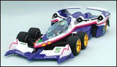 'Ogre AN-21' (Team Aoi ZIP Formula) from Japanese animation 'Future GPX Cyber Formula'. Body parts set made by Chevron Models, suitable for Tamiya 'Tyrrell P34 Six Wheeler' chassis or F103RM chassis (also need the 6 Wheeler conversion kit by Chevron Models).