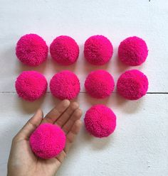 10 Hot Pink 2 Big Pom Pom Hmong hill tribe by moonshinecotton