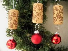Wine Cork Christmas Ball Ornaments by MtMeadowsCrafts on Etsy