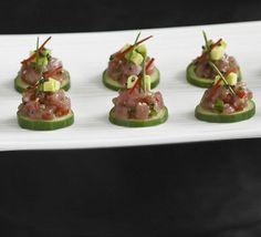 Cucumber slices with tuna & avocado tartare recipe - Recipes - BBC Good Food