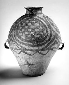 Ovoid Jar (Hu), 8000 - 2000 B.C., Neolithic period, Majiayao culture, Machang type, China, earthenware with pigment, 13 in. high,