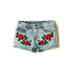 Blue Vintage Embroidery Drawstring Waist Denim Shorts ($30) ❤ liked on Polyvore featuring shorts, bottoms, pants, jeans, blue, jean shorts, blue shorts, vintage denim shorts, blue floral shorts and vintage shorts