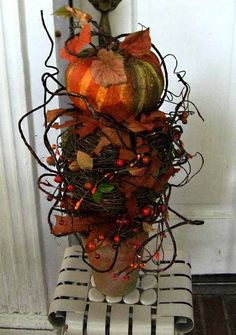 Halloween topiary pumpkin grapevine ball by ForestnShoreNaturals
