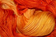 """""""Pumpkin! At The Disco""""  Colorway   Orange SPARKLE /Glitter Sock Yarn  Looks like a pumpkin's outside AND inside!  75% Superwash Merino 20% Nylon 5% Silver Stellina 2-ply 100g 435yd by Groovy Hues Fibers  I'm super excited about this colorway! I hope you are, too!"""