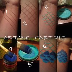 body painting cosplay how to bodypaint mermaid scales pictorial Cosplay Diy, Cosplay Makeup, Maquillage Normal, Makeup Fx, Body Makeup, Looks Halloween, Homemade Halloween, Costume Halloween, Pirate Costumes