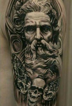 New Tattoos, Cool Tattoos, Greek Tattoo, Zeus Tattoo, Tattoo Ideas, Tattoo Designs, Full Sleeve Tattoo Design, Ink Addiction, Amazing Tattoos