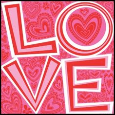 LOVE and HEARTS postage stamp
