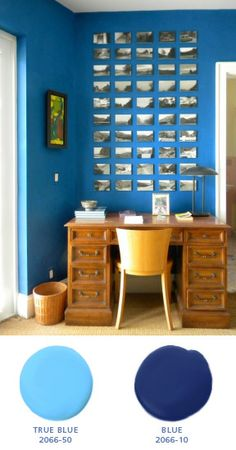 Black and white postcard sized artwork on deep blue. Benjamin Moore Colors, Benjamin Moore Paint, Blue Rooms, Blue Walls, Blue Wall Colors, Bright Colors, Postcard Display, Apartment Needs, Pallet Painting