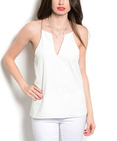 Love this White Chain V-Neck Top on #zulily! #zulilyfinds